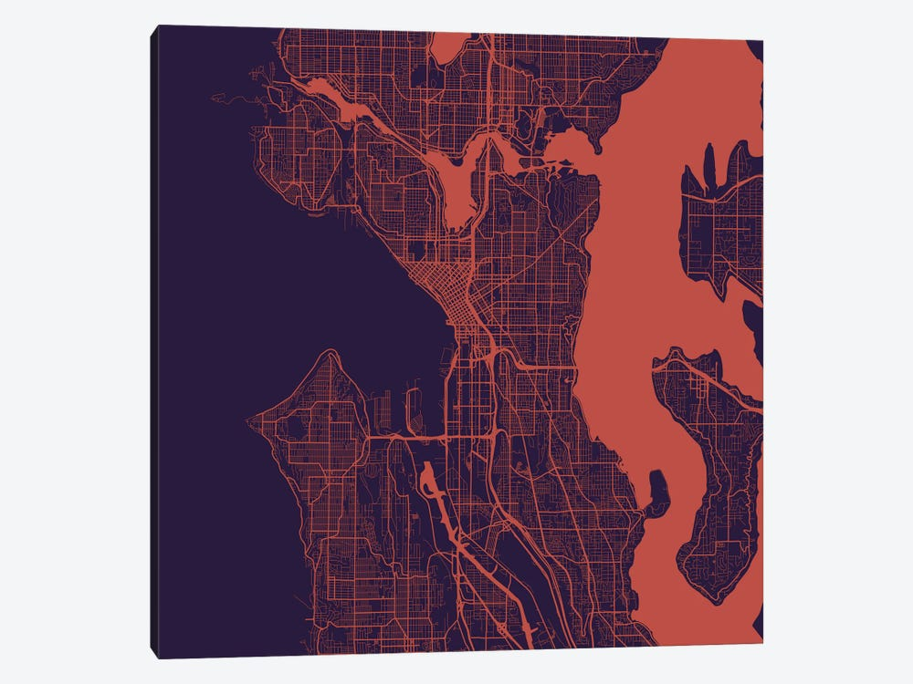 Seattle Urban Roadway Map (Purple Night) by Urbanmap 1-piece Canvas Art