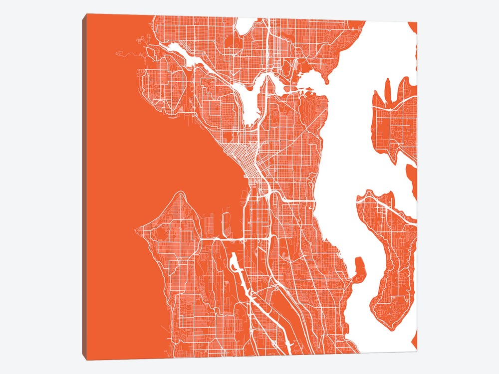 Seattle Urban Roadway Map (Red) by Urbanmap 1-piece Canvas Print