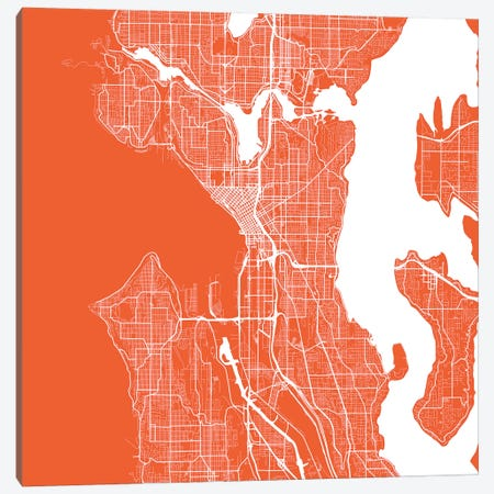 Seattle Urban Roadway Map (Red) Canvas Print #ESV328} by Urbanmap Canvas Artwork