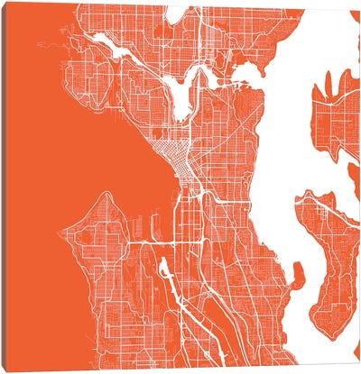 Seattle Urban Roadway Map (Red) Canvas Art Print