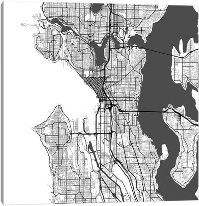 Seattle Urban Roadway Map (White) Canvas Art Print
