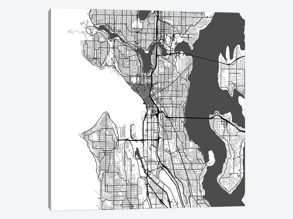 Seattle Urban Roadway Map (White) by Urbanmap 1-piece Canvas Art