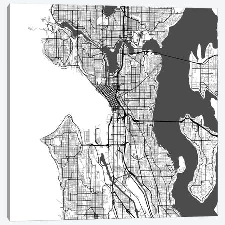 Seattle Urban Roadway Map (White) Canvas Print #ESV329} by Urbanmap Canvas Art