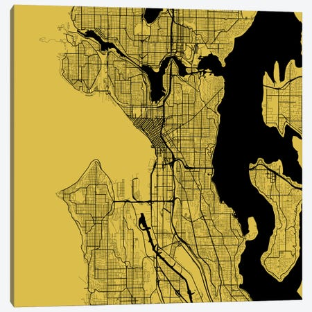 Seattle Urban Roadway Map (Yellow) Canvas Print #ESV330} by Urbanmap Canvas Print