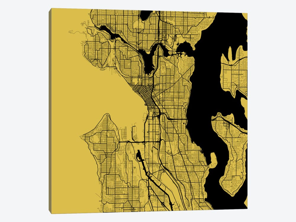 Seattle Urban Roadway Map (Yellow) by Urbanmap 1-piece Canvas Wall Art