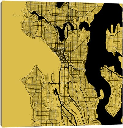 Seattle Urban Roadway Map (Yellow) Canvas Art Print
