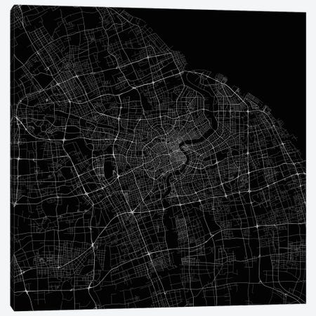 Shanghai Urban Roadway Map (Black) Canvas Print #ESV331} by Urbanmap Art Print