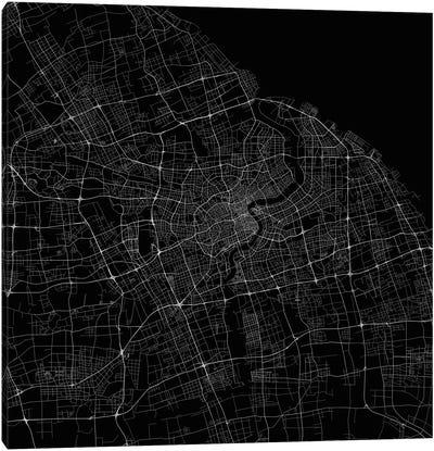 Shanghai Urban Roadway Map (Black) Canvas Art Print