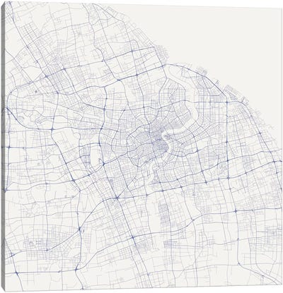 Shanghai Urban Roadway Map (Blue) Canvas Print #ESV332