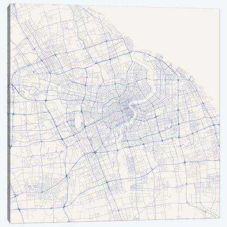 Shanghai Urban Roadway Map (Blue) Canvas Print #ESV332} by Urbanmap Canvas Art Print