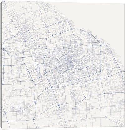 Shanghai Urban Roadway Map (Blue) Canvas Art Print