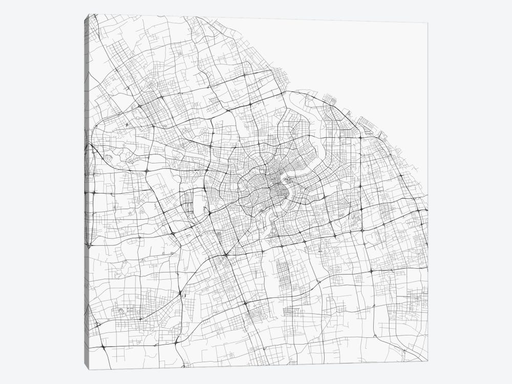 Shanghai Urban Roadway Map (White) by Urbanmap 1-piece Canvas Artwork