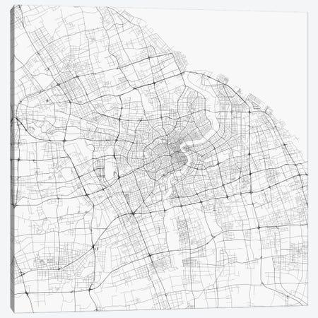 Shanghai Urban Roadway Map (White) Canvas Print #ESV338} by Urbanmap Canvas Print