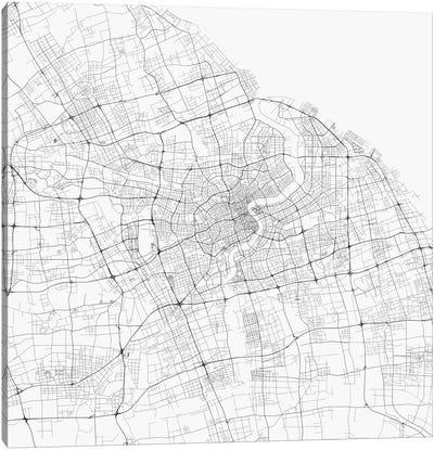 Shanghai Urban Roadway Map (White) Canvas Art Print