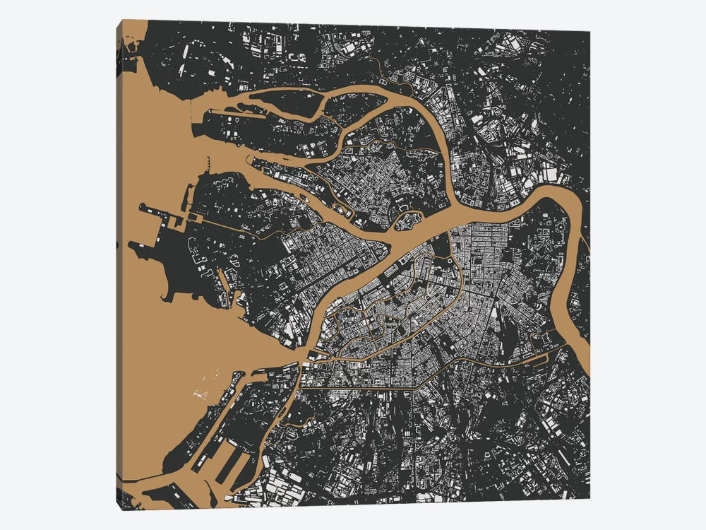St. Petersburg Urban Map (Black & Gold) by Urbanmap 1-piece Canvas Print