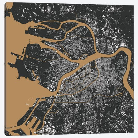 St. Petersburg Urban Map (Black & Gold) Canvas Print #ESV340} by Urbanmap Canvas Wall Art