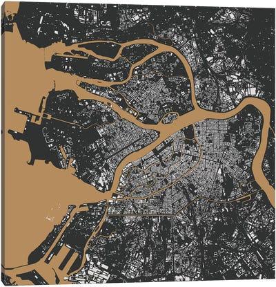 St. Petersburg Urban Map (Black & Gold) Canvas Art Print