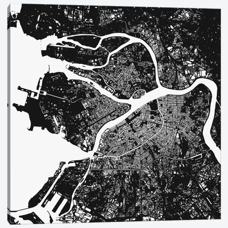 St. Petersburg Urban Map (Black) Canvas Print #ESV341} by Urbanmap Canvas Artwork
