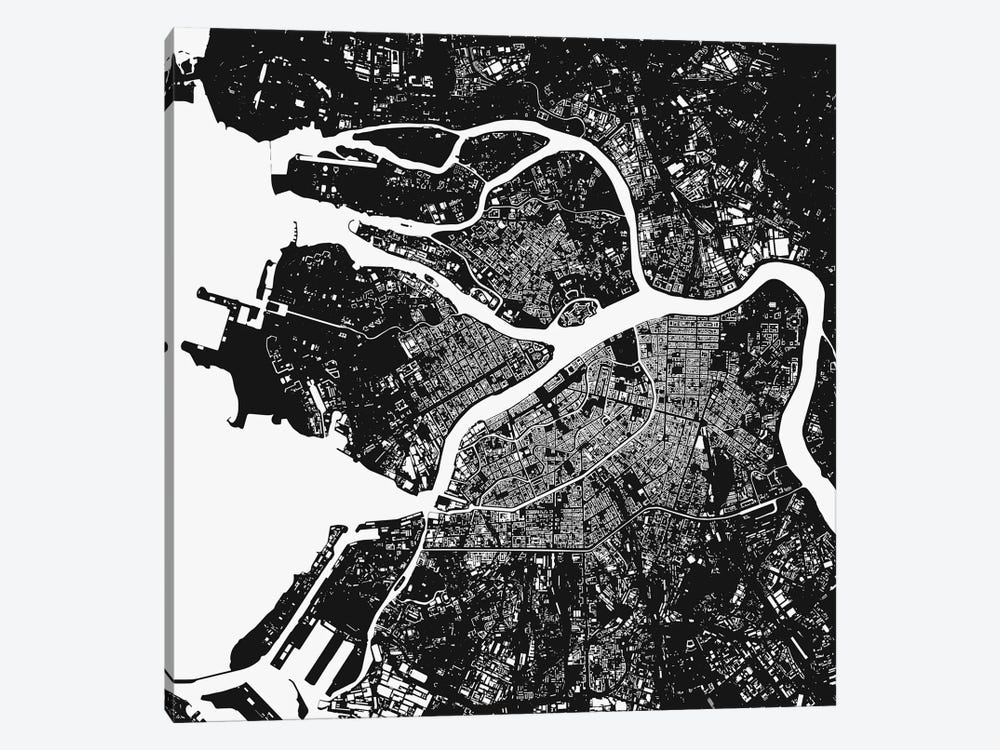 St. Petersburg Urban Map (Black) by Urbanmap 1-piece Canvas Wall Art