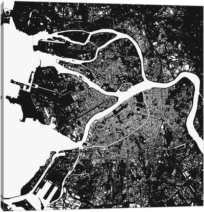 St. Petersburg Urban Map (Black) Canvas Art Print