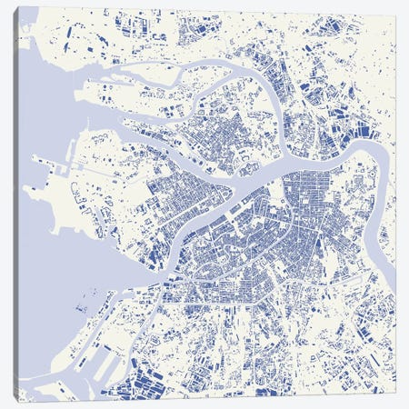 St. Petersburg Urban Map (Blue) Canvas Print #ESV342} by Urbanmap Canvas Art