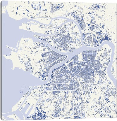 St. Petersburg Urban Map (Blue) Canvas Art Print