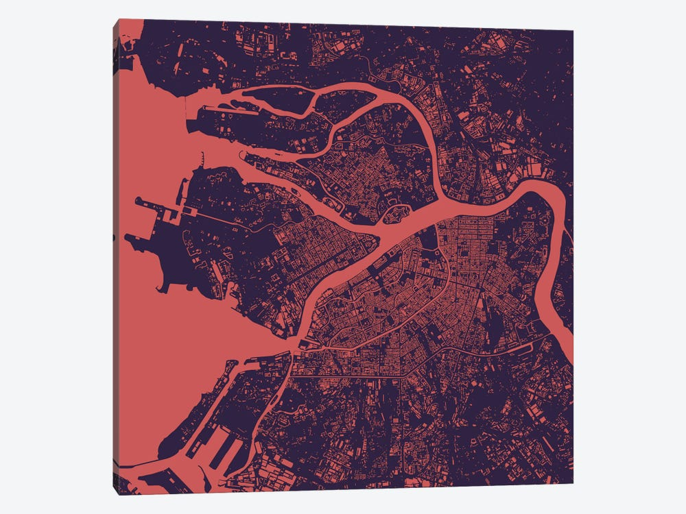 St. Petersburg Urban Map (Purple Night) by Urbanmap 1-piece Canvas Wall Art
