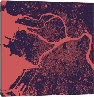St. Petersburg Urban Map (Purple Night) Canvas Art Print