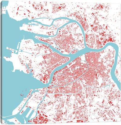 St. Petersburg Urban Map (Red) Canvas Art Print