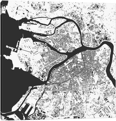 St. Petersburg Urban Map (White) Canvas Art Print