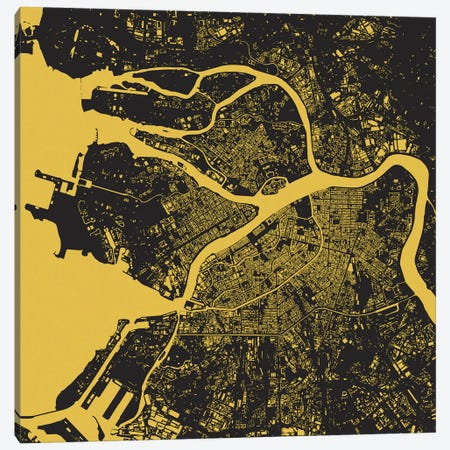 St. Petersburg Urban Map (Yellow) Canvas Print #ESV348} by Urbanmap Canvas Wall Art