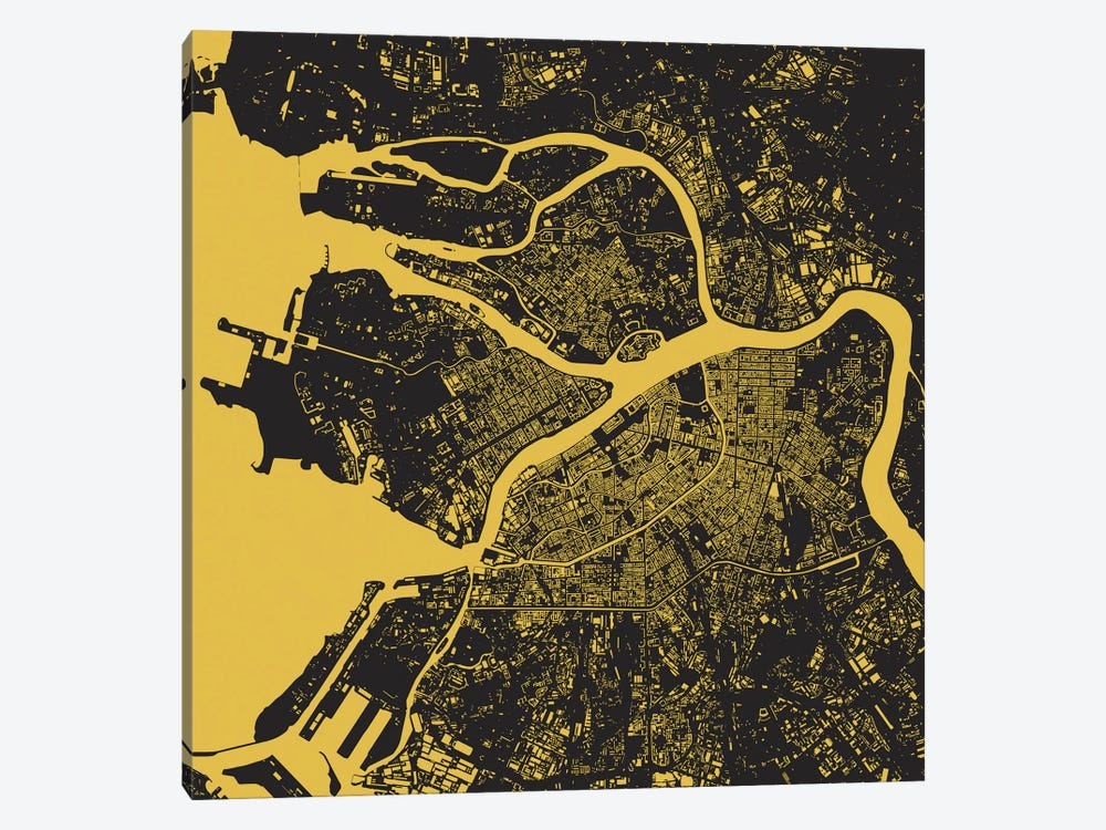 St. Petersburg Urban Map (Yellow) 1-piece Canvas Print