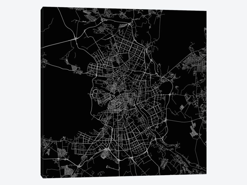 St. Petersburg Urban Roadway Map (Black) by Urbanmap 1-piece Canvas Wall Art
