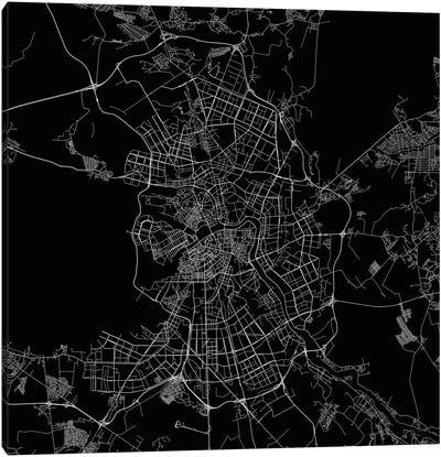 St. Petersburg Urban Roadway Map (Black) Canvas Art Print