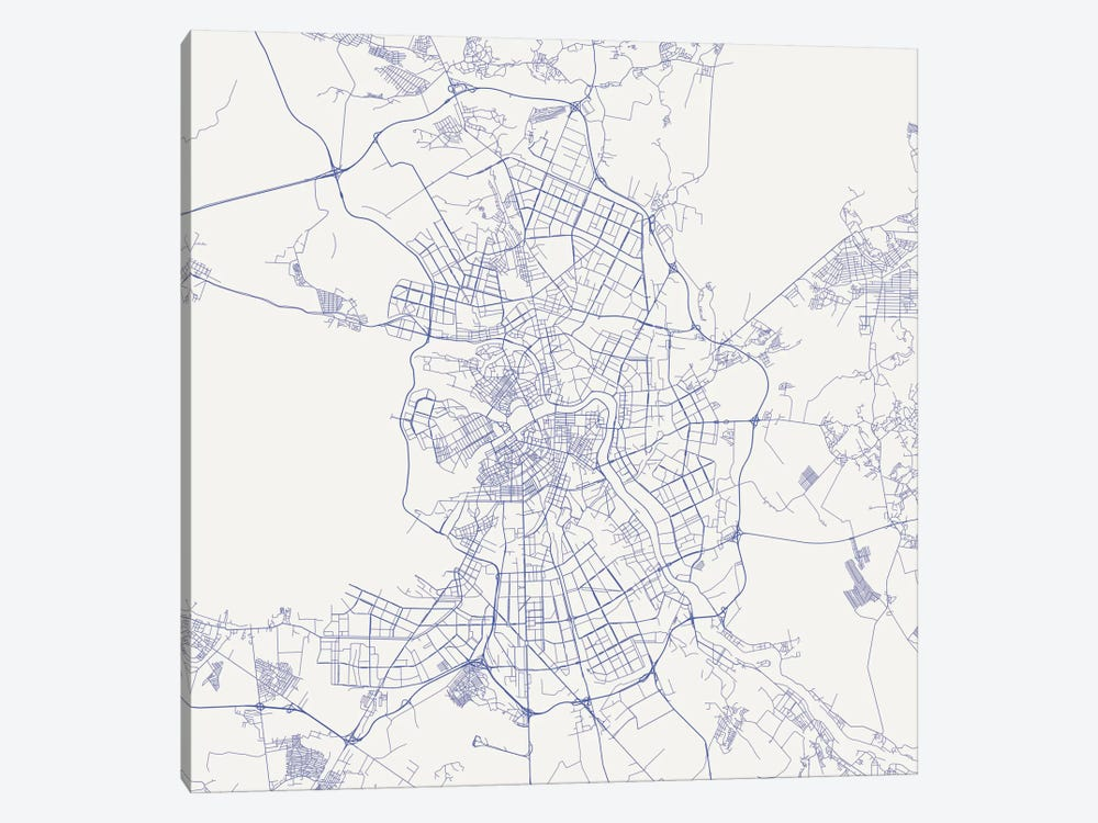 St. Petersburg Urban Roadway Map (Blue) by Urbanmap 1-piece Canvas Wall Art