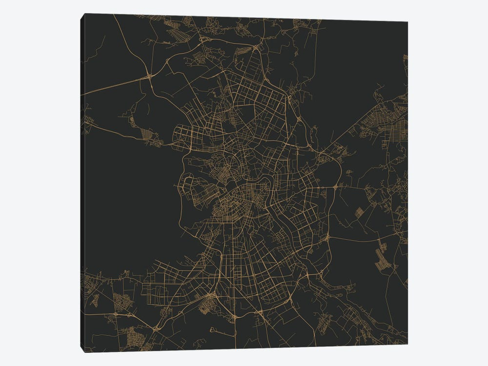 St. Petersburg Urban Roadway Map (Gold) by Urbanmap 1-piece Canvas Art Print