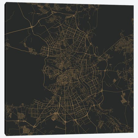 St. Petersburg Urban Roadway Map (Gold) Canvas Print #ESV351} by Urbanmap Canvas Print