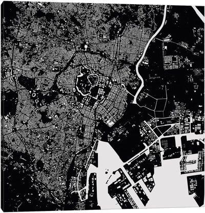 Tokyo Urban Map (Black) Canvas Print #ESV358