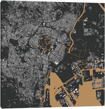 Tokyo Urban Map (Gold) Canvas Art Print