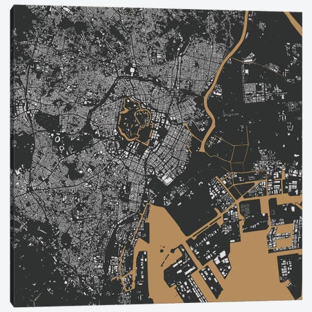 Tokyo Urban Map (Gold) Canvas Print #ESV360} by Urbanmap Canvas Art