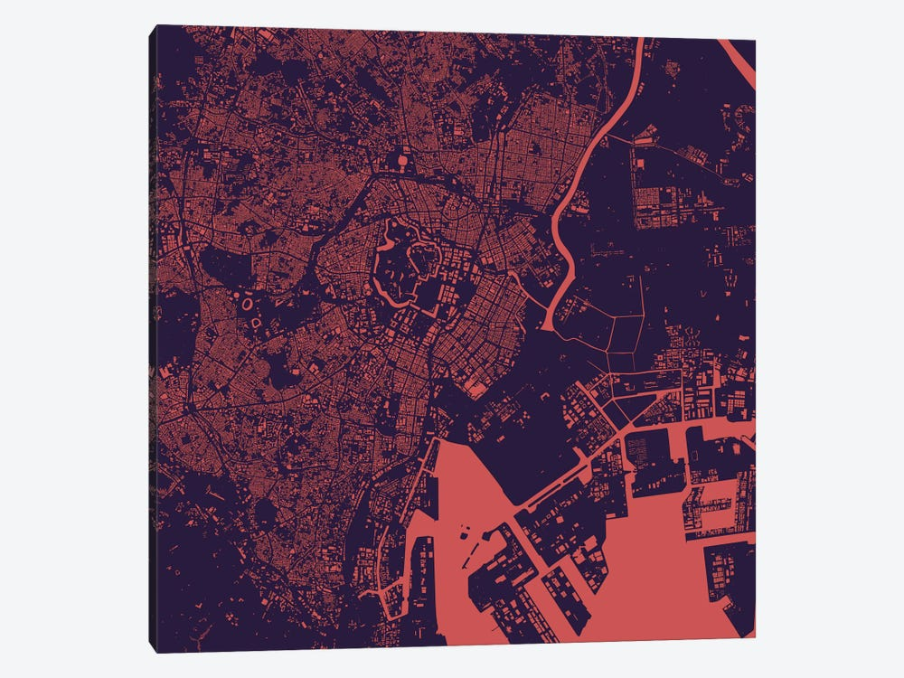 Tokyo Urban Map (Purple Night) by Urbanmap 1-piece Canvas Wall Art