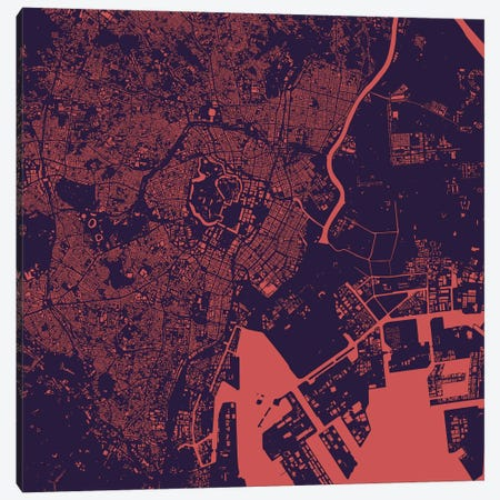 Tokyo Urban Map (Purple Night) 3-Piece Canvas #ESV363} by Urbanmap Canvas Artwork