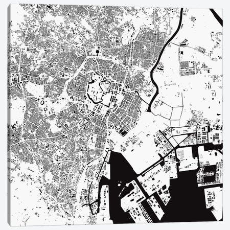Tokyo Urban Map (White) Canvas Print #ESV365} by Urbanmap Canvas Print