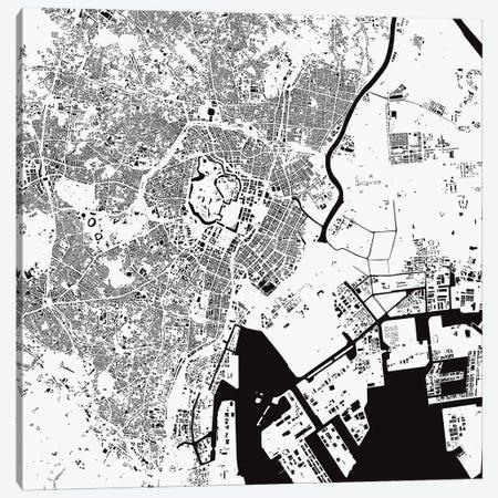 Tokyo Urban Map (White) 3-Piece Canvas #ESV365} by Urbanmap Canvas Print