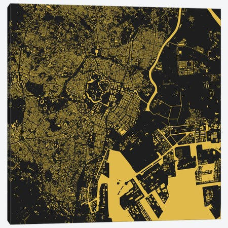 Tokyo Urban Map (Yellow) Canvas Print #ESV366} by Urbanmap Canvas Print