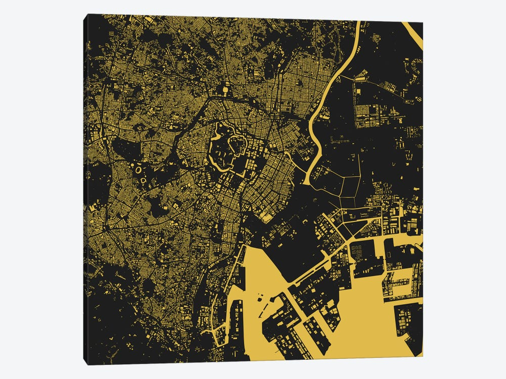 Tokyo Urban Map (Yellow) by Urbanmap 1-piece Canvas Art Print