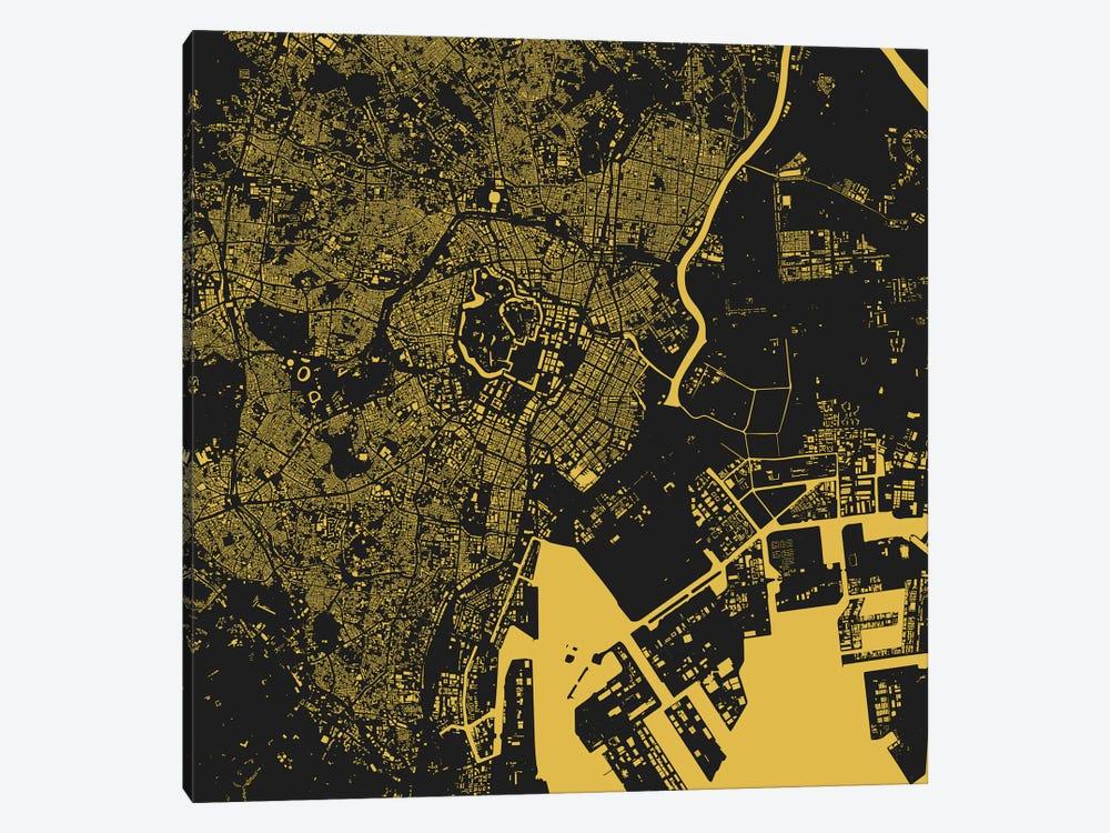 Tokyo Urban Map (Yellow) by Urbanmap 1-piece Canvas Art Print