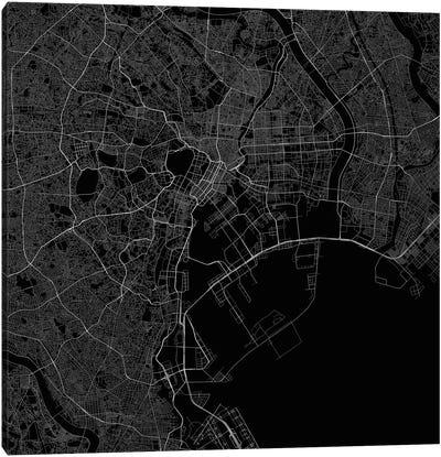 Tokyo Urban Roadway Map (Black) Canvas Art Print