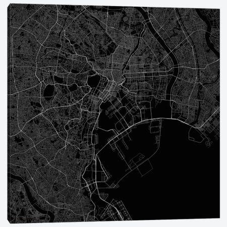 Tokyo Urban Roadway Map (Black) 3-Piece Canvas #ESV367} by Urbanmap Canvas Art Print