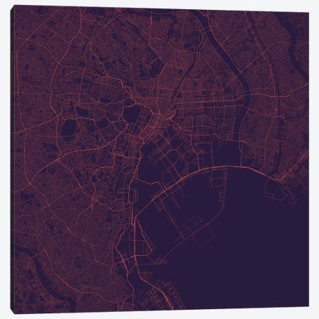 Tokyo Urban Roadway Map (Purple Night) Canvas Print #ESV372} by Urbanmap Canvas Print